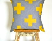 Organic Cotton  Cushion Cover - Plus One - Yellow and Grey