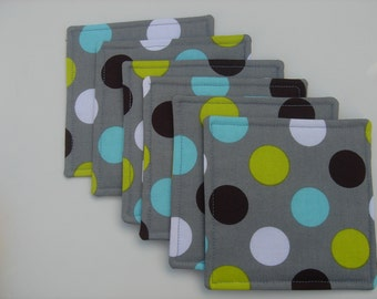Fabric Reversible  Coasters Gray Teal Black Bright Green, Set of Six