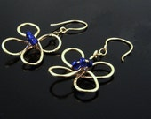 Dangle Earrings, Handmade Gold Wire Flower with Blue Beaded Center, Gold Earwires- DAISY DANGLING
