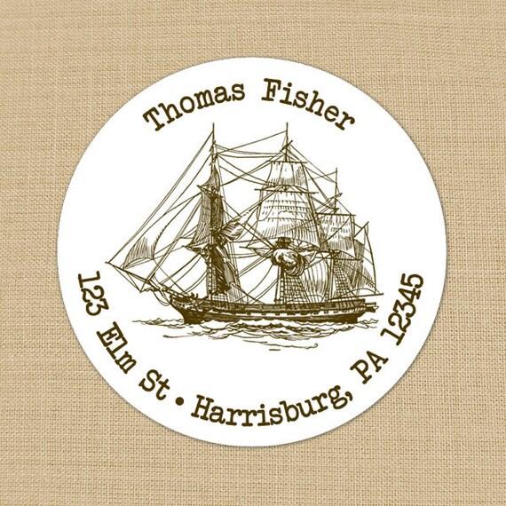 Vintage Ship Custom Address Labels or Stickers