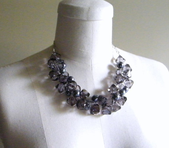 Gray Chunky Necklace, Pearl Chunky Necklace, Wire Crochet Necklace, ACRYLIC, Bridesmaid Necklace, Gray Wedding Jewelry