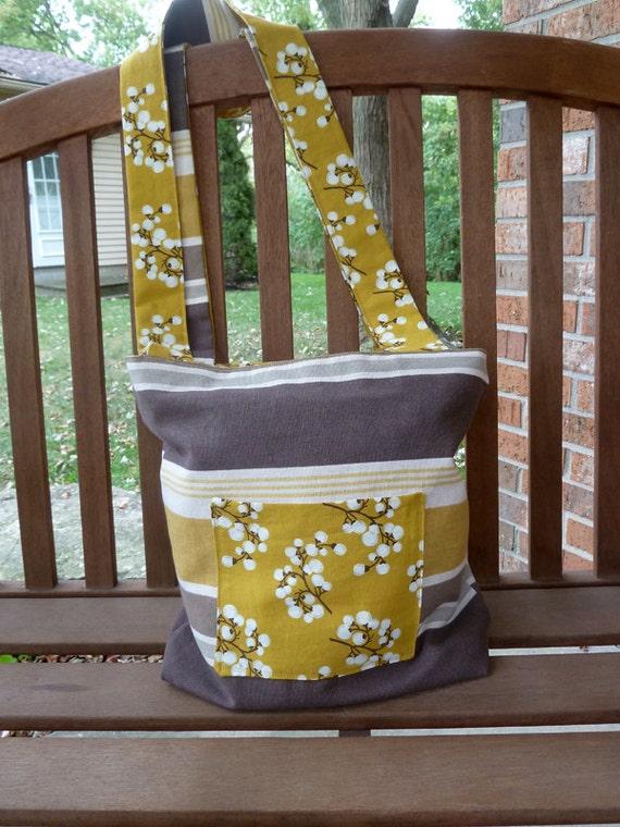 Yellow, Brown, and Grey Reversible Women's Tote Bag