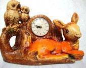 50s/60s Mod Lanshire Super Rare Fawn Chalkware Mantle Clock