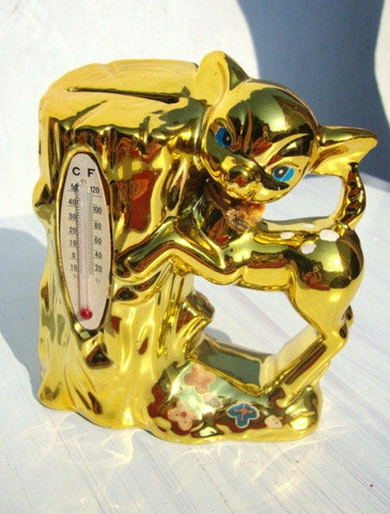 Super Cute 60s Shiny Gold Kitschy Retro Deer Thermometer Bank