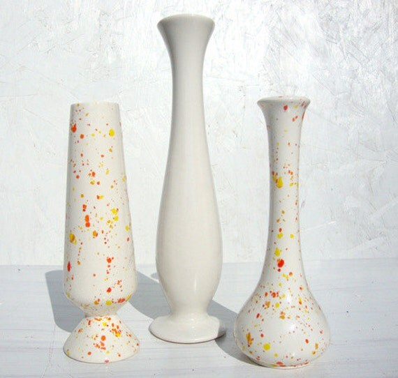 Vintage Mid Century Mod Bud Vase Collection of 3