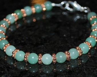 Shades of Jade Green and Copper Beaded Bracelet