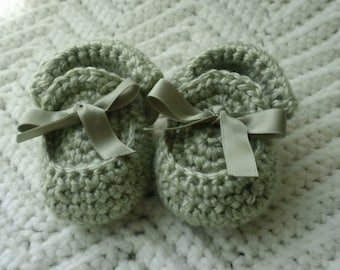 Crocheted Baby Moccasins Sage Newborn Infant Size