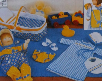 """Vogue 15"""" Baby Doll Accessories Sewing Pattern UNCUT Vogue Craft 9373 backpack doll bed doll carrier"""