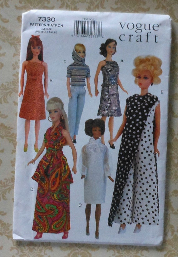 """11.5"""" Fashion Doll Clothes Sewing Pattern Retro 60s Style Dress Pants Gown Top Vogue Craft 7330"""