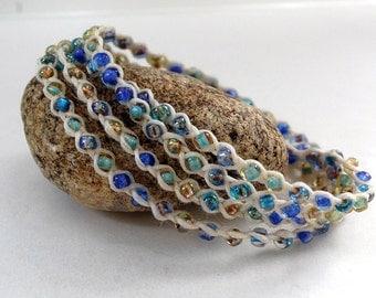 Waxed Irish Linen White with Sea foam, Blue, Gray, Teal Japanese Seed Beads Beach Double Strand Braided Wrap Bracelet