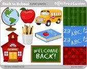 Back to School - Digital Clip Art - Personal and Commercial Use - back to school apple bus chalk board abc's