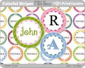 2 Inch - Editable PDF (8x10) - Colorful Stripes & Scallops Digital Collage Sheet (No. 201B) -2 Inch Circles Labels Tags