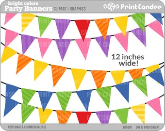 Birthday Party Banners (Bright Colors) - Digital Clip Art - Personal and Commercial Use Clip Art - flag banners 12 inches