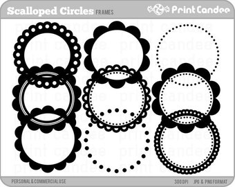 Scalloped Circle Frames - Personal and Commercial Use - digital clipart frames clip art