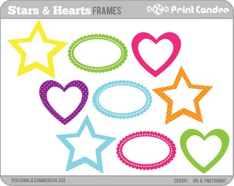 Stars and Hearts Frames - Personal and Commercial Use - digital clipart frames clip art cute fun