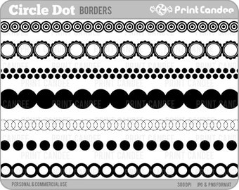 70% OFF SALE! - Circle Dot Page / Frame Borders - Personal and Commercial Use - design element, border, edge