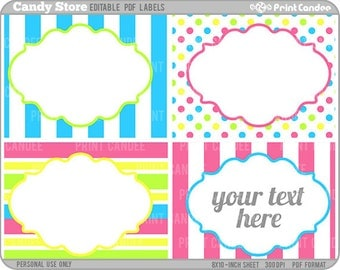 Rectangle - Editable PDF (8x10) - Candy Store Labels - Printable Labels / Cards