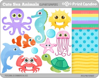 Cute Sea Animals - Digital Clip Art - Personal and Commercial Use - sea creatures fish octopus crab turtle