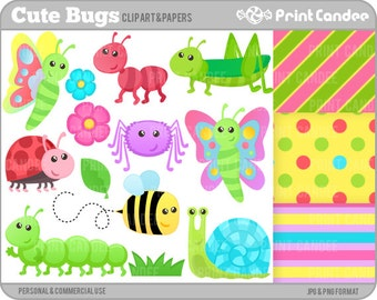 Cute Bugs - Digital Clip Art - Personal and Commercial Use - insects ant bee lady bug ladybug caterpillar