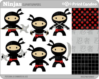 Ninjas - Digital Clip Art - Personal and Commercial Use - tai kwon do boys karate nunchuks