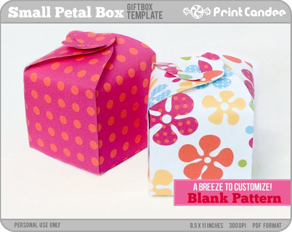 Items Similar To Gift Box Blank Template   Small Petal Box   Personal Use  Only   Printable   DIY On Etsy  Homemade Gift Boxes Templates
