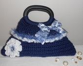 Blue & White Crochet Tote - handbag purse bag tote evening bag clutch - Blue Tranquility Darling Bag