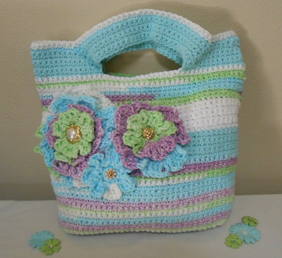 RESERVED for ANNETTE - Crochet Tote Bag - handbag, crochet, bag, purse, cotton - Sweet Pea Striped Classic Cotton Tote