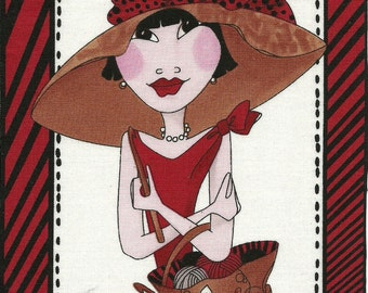 Loralie Stylish Sewing Quilting Crochet Lady quilt fabric ONE block
