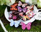 20Pcs Mini Handmade Colorful Butterfly Charms / Pendants (CWE01)