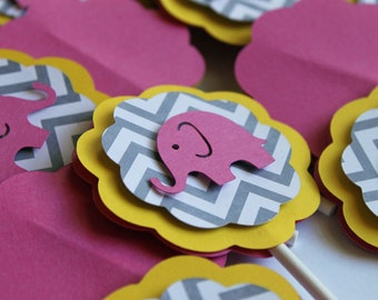 Hot Pink Elephant Gray Chevron stripe bright yellow cupcake toppers baby shower its a girl boy