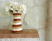 Brown Vase with ivory and tan Stripes / Striped Painted Vase / neutral decor