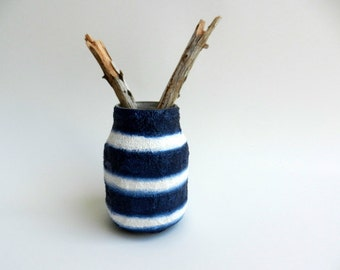 pen cup / Navy Blue and white Pencil Holder / Upcycled Jar / nautical inspired / beach vibe