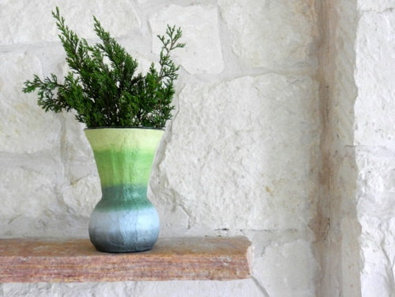 Green Home Decor / Green and Grey Vase / Glass stucco concrete Handpainted Vase by Kristin - Carriage Oak Cottage