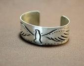 Sterling silver soaring bird bracelet