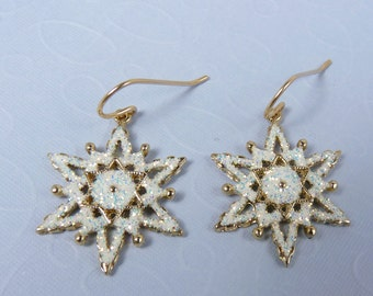 Gold and White Snowflake Earrings with White Enamel, Sparkling Glitter, Shiny Gold-Finish Accent Snowflakes, and Gold Filled Ear Wires
