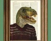 "T-Rex in an ugly sweater ""Little Tony's Uncle Phillip"" Dinosaur art print beautifully upcycled dictionary page book art print"