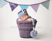 Baby Girl Elf Hat in Lavender, Aqua, Dusty Purple, and Cream