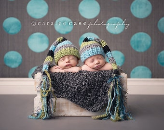 Twins - Set of Two Elf Hats in Aqua, Lime, Black, and Grey