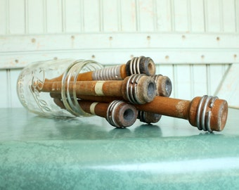 6 Vintage Industrial Wooden Thread Spools - Set of Six - Organize Trim Notions Yarn Decorate Ring Display