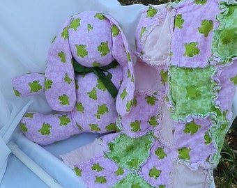 Pink/Green Frog Flannel Blanket and Bunny