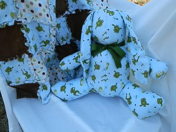 Frog Baby blanket with Matching Stuffed Bunny
