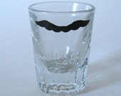 Mario Mustache Shot Glass - One Hand Painted Upcycled Shot Glass