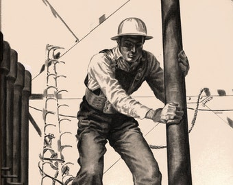 WPA era Oil Rig Worker illustration drawing Houston Texas
