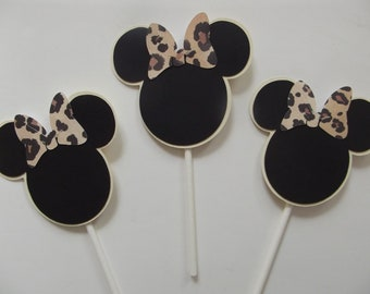 Leopard Minnie Mouse Cup Cake Top Topper Minnie Inspired Cupcake Toppers - Minnie Mouse Happy Birthday Party Baby Shower DIY Cake Pop Topper