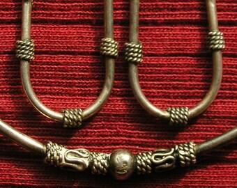 Bali Sterling Silver Bangle Bracelet and Hoop Earrings Set