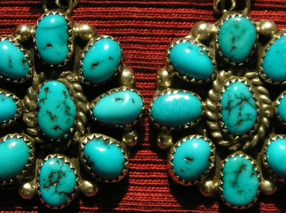 Native American Sterling Silver Turquoise Sunburst Cluster Dangle Earrings