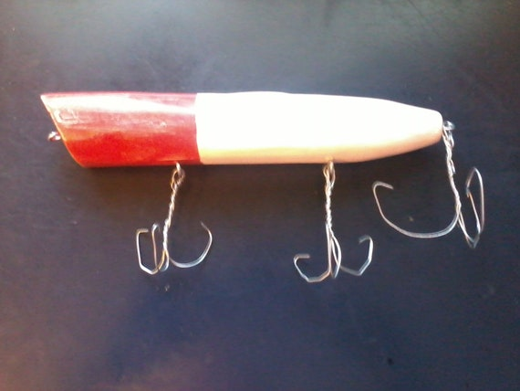 Items similar to vintage look decor wooden fishing lure on for Fishing lure decor