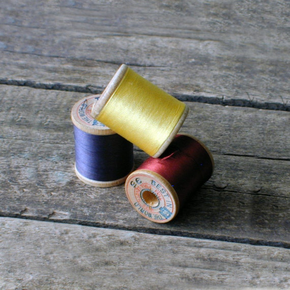 Pure Silk Thread, Wood Spool Brainerd Armstrong Co. Red Yellow and Blue