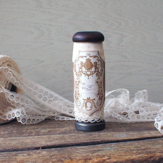 25 Yards Lace Trim on Old Wood Spool