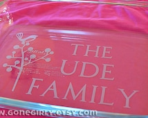Bird in a Tree.  The {Your Last Name} Family. Great Blended Family Gift! Etched Pyrex. 9x13 Personalized Baking Dish + Free Red Lid